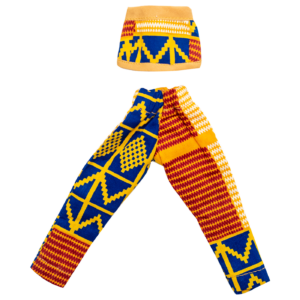 Warrior Yellow and Blue Kente pants with halter