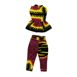 Kaba two-piece pants and top pink/yellow/black