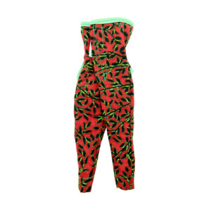 Red/black with lime trimming Kaba pantsuit strapless