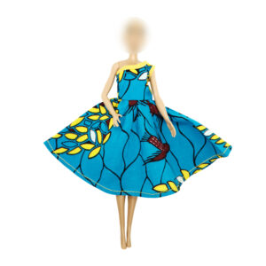 Single shoulder Leaf dress blue flair