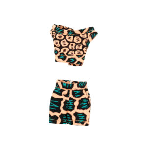 Life peach and teal two-piece mini skirt with half shirt