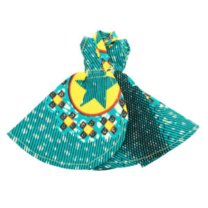 Teal and yellow Star dress flair cross front.