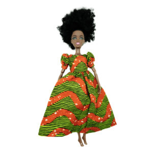 Orange and lime green long Life dress with short sleeves
