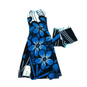Long stem blue and black shorts with long tux top
