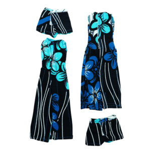 Long stem black and turquoise shorts with long tux top