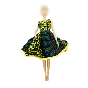 Dark green and yellow Shell dress with shoulder sleeves and flair