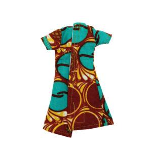 Orange and Teal short-sleeve dress