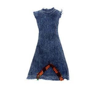 "Kente ""Boomerang"" bottom denim dress"