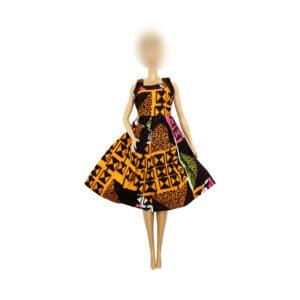 Life pink/brown/yellow sleeveless dress flair